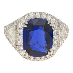 Asprey Natural Royal Blue Sapphire Diamond Ring Platinum 5.54 Carat