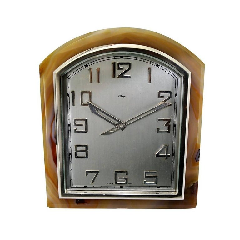 Asprey Agate Stone and Nickel Clock with Easel Stand