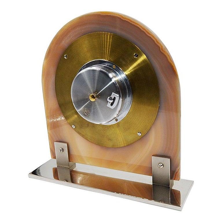 Asprey Art Deco Agate 8 Day Manual Wind Desk Clock, 1930s For Sale 5