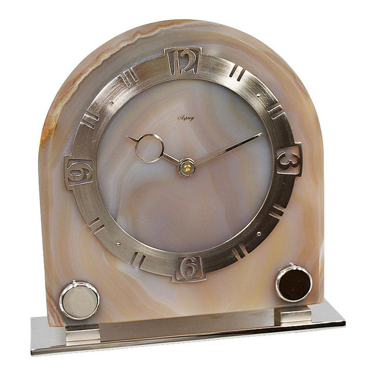 FACTORY / HOUSE: Asprey  STYLE / REFERENCE: Art Deco METAL / MATERIAL: Nickel/ Banded Agate CIRCA / YEAR: 1930's DIMENSIONS / SIZE: 7