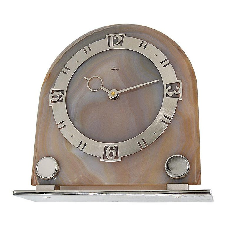 Uncut Asprey Art Deco Agate 8 Day Manual Wind Desk Clock, 1930s For Sale