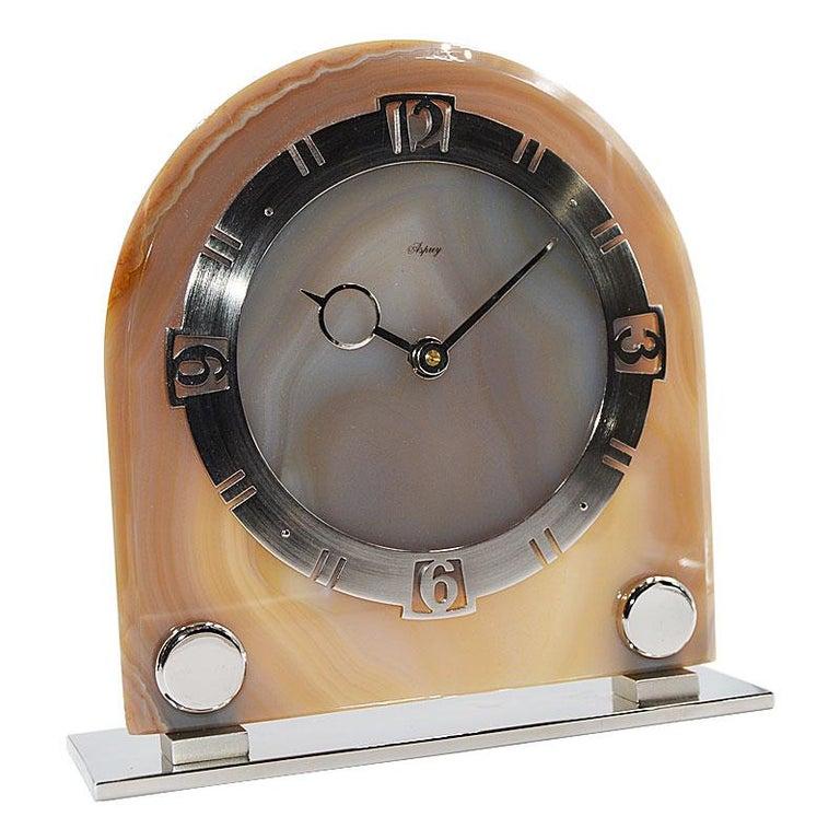 Women's or Men's Asprey Art Deco Agate 8 Day Manual Wind Desk Clock, 1930s For Sale