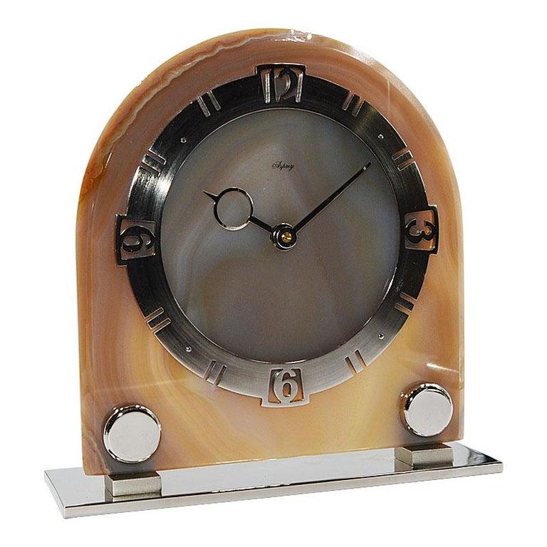 Asprey Art Deco Agate 8 Day Manual Wind Desk Clock, 1930s For Sale 1