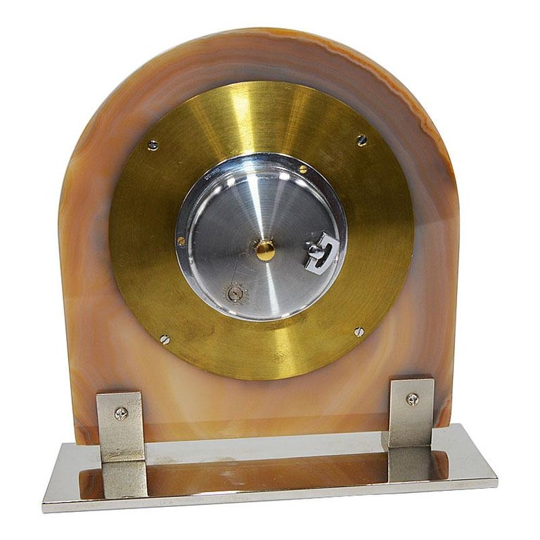 Asprey Art Deco Agate 8 Day Manual Wind Desk Clock, 1930s For Sale 3