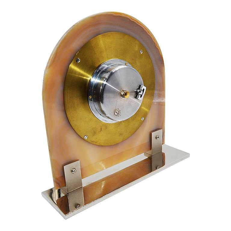 Asprey Art Deco Agate 8 Day Manual Wind Desk Clock, 1930s For Sale 4