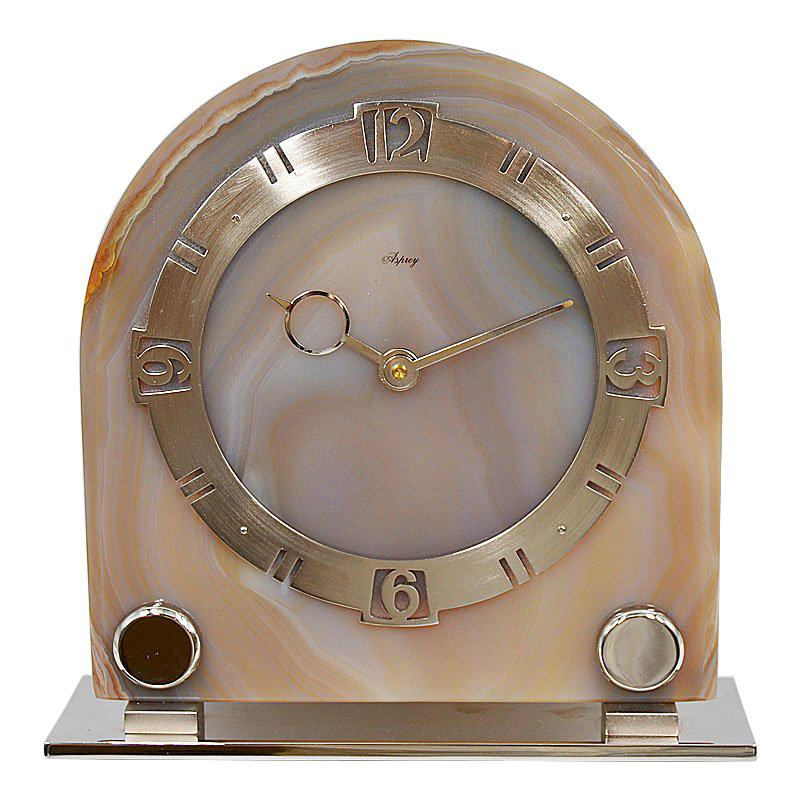 Asprey Art Deco Agate 8 Day Manual Wind Desk Clock, 1930s