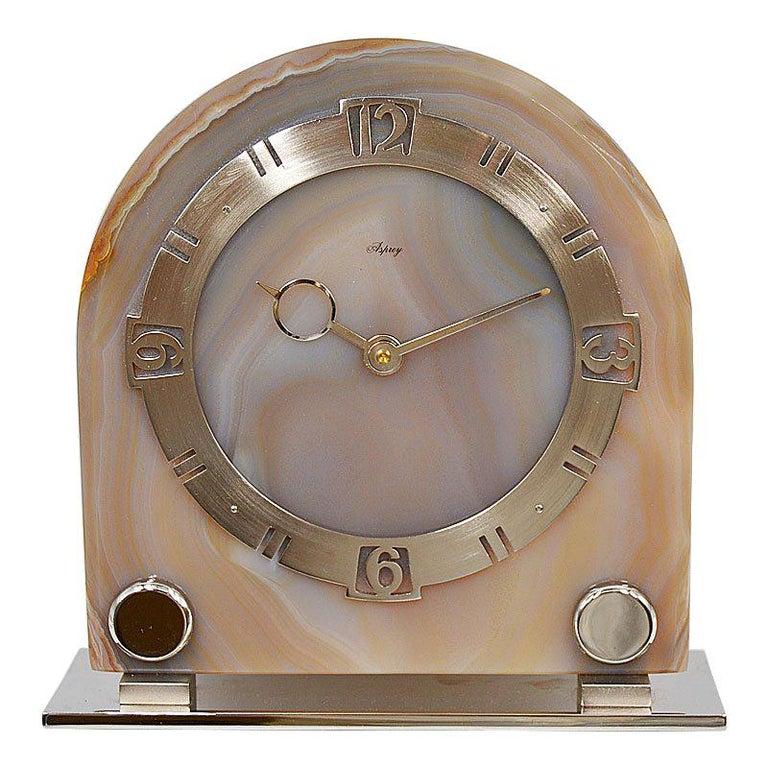 Asprey Art Deco Agate 8 Day Manual Wind Desk Clock, 1930s For Sale