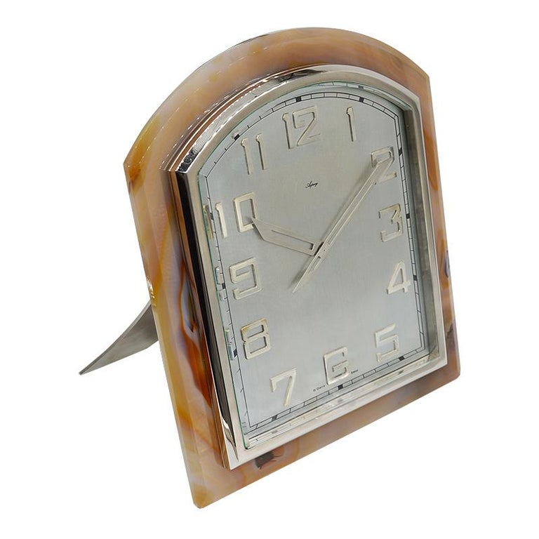 Mixed Cut Asprey Art Deco Agate Stone Clock, circa 1920s For Sale