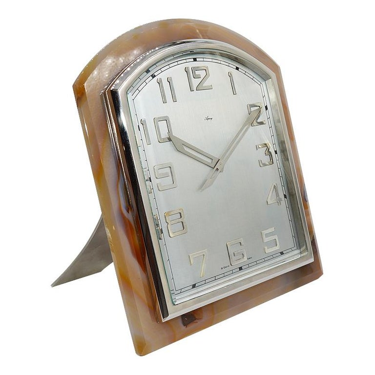 Asprey Art Deco Agate Stone Clock, circa 1920s In Excellent Condition For Sale In Venice, CA