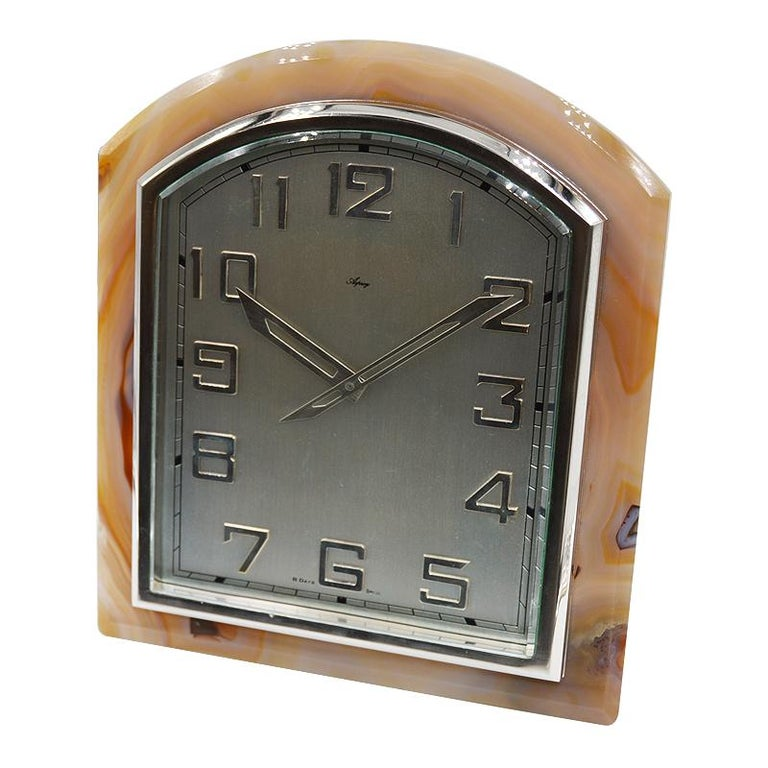 Women's or Men's Asprey Art Deco Agate Stone Clock, circa 1920s For Sale