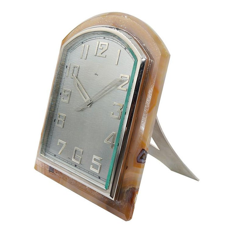 Asprey Art Deco Agate Stone Clock, circa 1920s For Sale 1