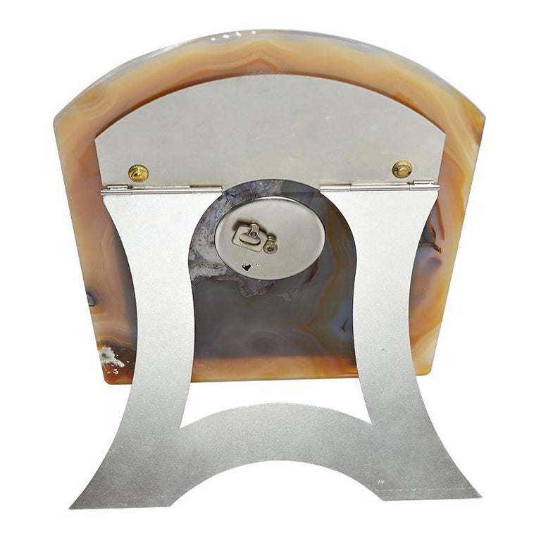 Asprey Art Deco Agate Stone Clock, circa 1920s For Sale 3