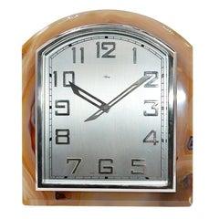 Asprey Art Deco Agate Stone Clock, circa 1920s