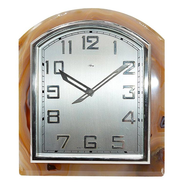 Asprey Art Deco Agate Stone Clock, circa 1920s For Sale