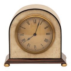 Asprey Art Deco Clock in an Ivory Shagreen on a Macassar Base