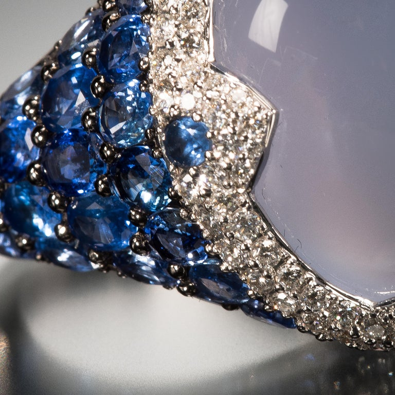 Asprey Blue Cabochon Chalcedony  Diamond Sapphire Ring In Good Condition For Sale In 02114, MA