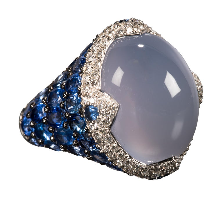 Women's or Men's Asprey Blue Cabochon Chalcedony  Diamond Sapphire Ring For Sale