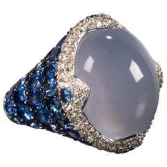 Asprey Blue Cabochon Chalcedony  Diamond Sapphire Ring