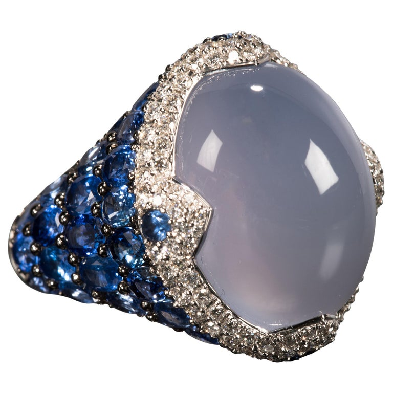 Asprey Blue Cabochon Chalcedony  Diamond Sapphire Ring For Sale