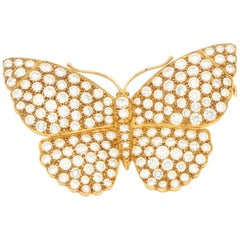 Asprey Butterfly Diamond Brooch in 18 Karat Yellow Gold, circa 1997