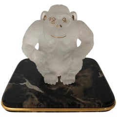 Asprey Carved Rock Crystal Gorilla Diamond Eye's and 18-Karat Gold Accents