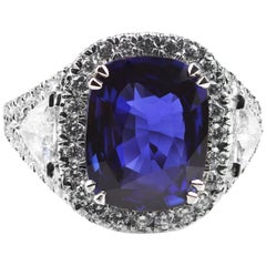 Asprey Certified 5.54 Carat Royal Vivid Blue Natural Sapphire and Diamond Ring