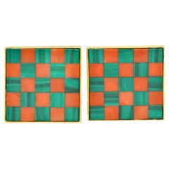 Asprey & Co. 1981 Coral Malachite 18 Karat Gold British Men's Cufflinks