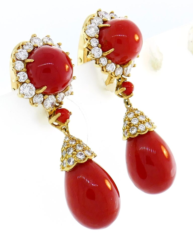 Asprey Coral Diamond Yellow Gold Earrings In Excellent Condition For Sale In Beverly Hills, CA