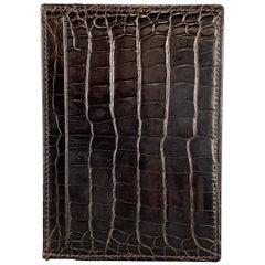 ASPREY Crocodile Dark Brown Leather Flat Card Case