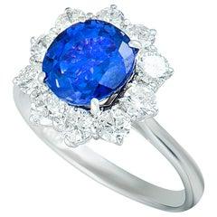 Asprey Diamond and Tanzanite White Gold Flower Ring
