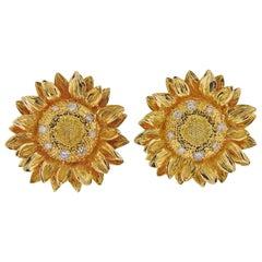 Asprey Diamond Gold Sunflower Earrings