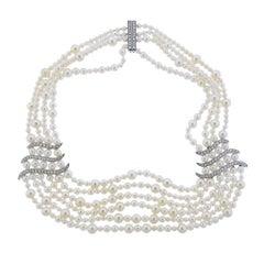 Asprey Diamond Pearl 18 Karat Gold Necklace