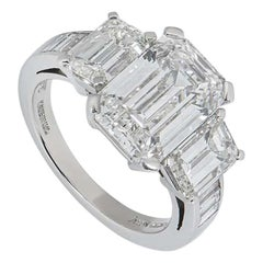 Asprey Emerald Cut Diamond Ring 6.30 Total Carat 4.30 Center Stone GIA Certified