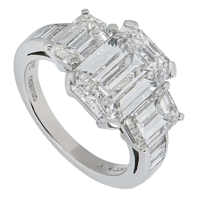 Asprey Emerald Cut Diamond Ring 6.30 Total Carat 4.30 Center Stone GIA Certified For Sale