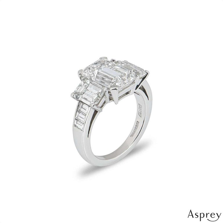 Women's Asprey Emerald Cut Diamond Ring 6.30 Total Carat 4.30 Center Stone GIA Certified For Sale