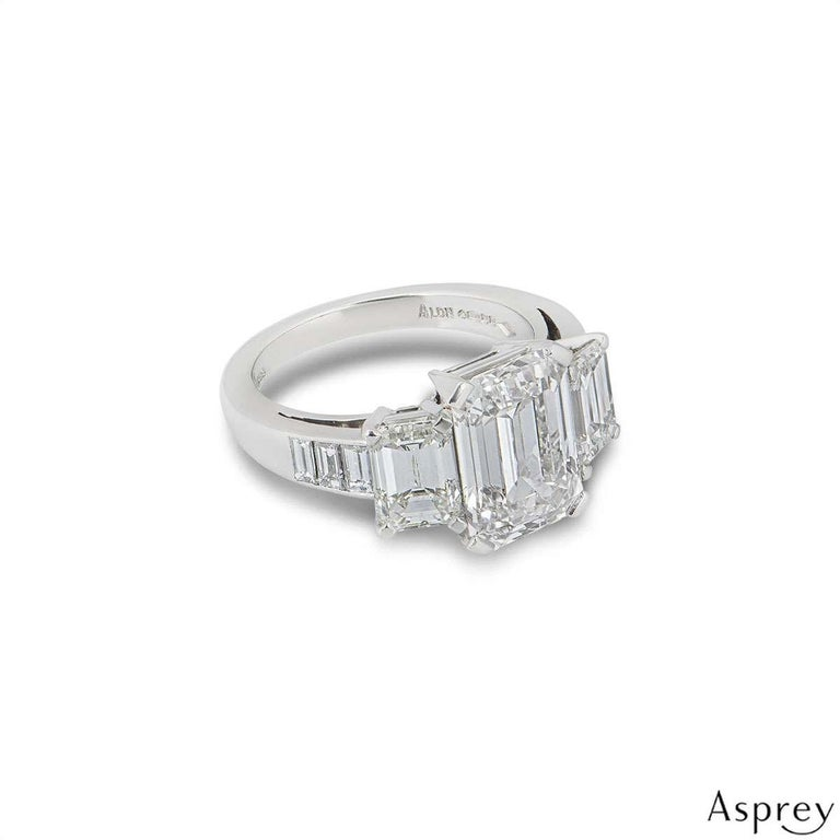 Asprey Emerald Cut Diamond Ring 6.30 Total Carat 4.30 Center Stone GIA Certified For Sale 1