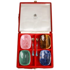 Asprey English Hardstone Salts and Spoons
