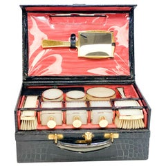 Asprey Gilt Sterling Silver and Celluloid Vanity Set