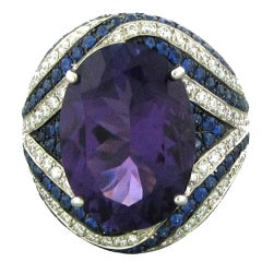 Asprey Gold Diamond Amethyst Sapphire Ring