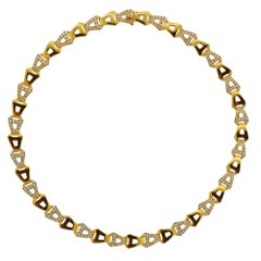 Asprey Gold Diamond Chain Link Necklace