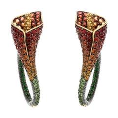 Asprey Lily Multicolor Gemstone 18k Yellow Gold Statement Hoop Earrings