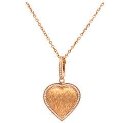 Asprey London 18 Karat Gold and Diamond Heart Enhancer Pendant with Chain