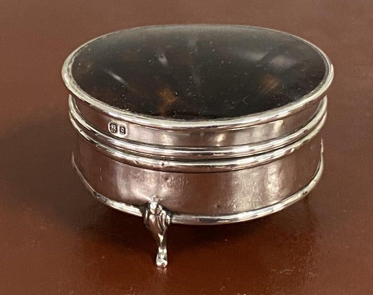 Asprey London 1929 Sterling Silver Jewelry Trinket Pot Box Faux Tortoiseshell For Sale 3