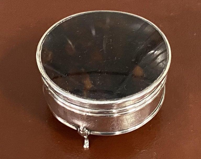 Asprey London 1929 Sterling Silver Jewelry Trinket Pot Box Faux Tortoiseshell For Sale 4