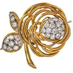 Asprey London 1960s Diamond Rose Flower Brooch 18 Karat Yellow Gold English