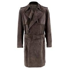 Asprey London Brown Suede Trench Coat 48IT