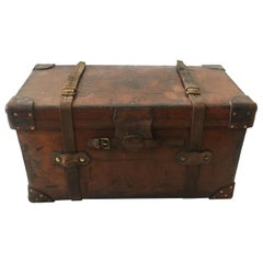 Asprey London Large Leather Steamer Trunk, England, 1900s