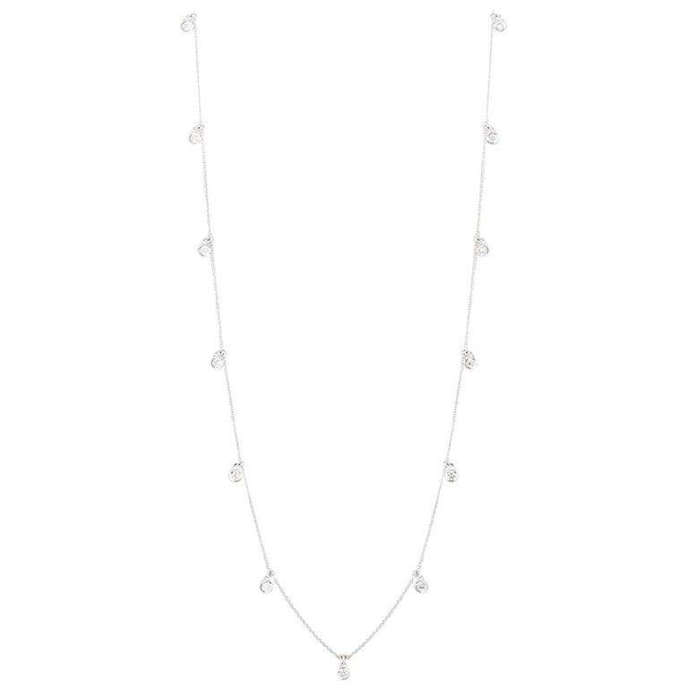 Asprey Long Diamond Necklace 2.05 Carat For Sale