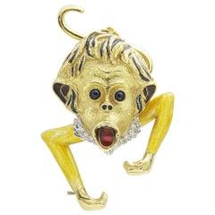 Asprey of London 18 Karat Gold and Enamel Monkey Brooch Pendant