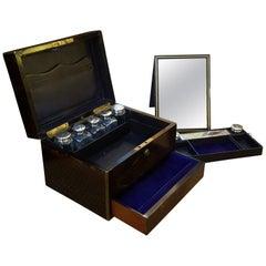 Asprey of London Macassar Ebony Brass Bound Jewelry and Vanity Box